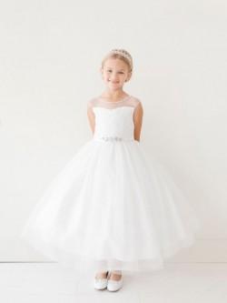 eab101e84d38 Tip Top 5712 Lace Illusion Flower Girls Dress