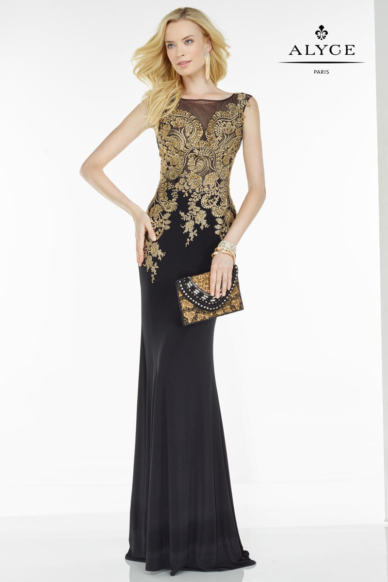 Alyce Black Label 5737 Sheer Embroidered Tulle Gown