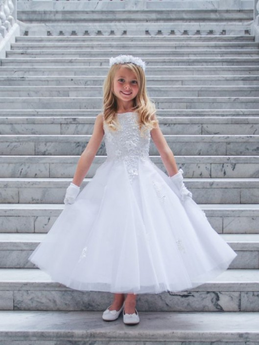 2f87bd0d5d9 Tip Top 5740 Flower Girls White Dress with 3D Lace  French Novelty