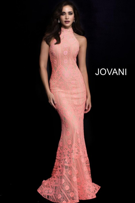 Jovani 57400 Lace Gown with Racer Back: French Novelty