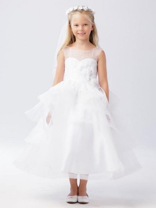 16ade923d27 Tip Top 5742 Beaded Illusion Flower Girls Dress  French Novelty