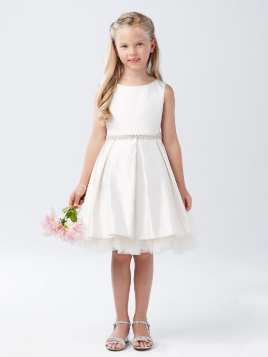 a02f9d563d8 Tip Top 5745 Satin Pleated Flower Girls Dress with Sash  French Novelty