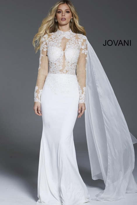 Jovani 57796 Sheer Long Sleeve White Gown French Novelty