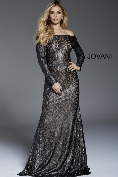 bfbee9b52fffbe Jovani 57890 Off Shoulder Long Sleeve Lace Gown: French Novelty
