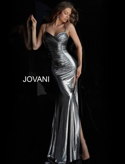 a594a272374 Jovani 57990 Ruched Metallic Prom Gown