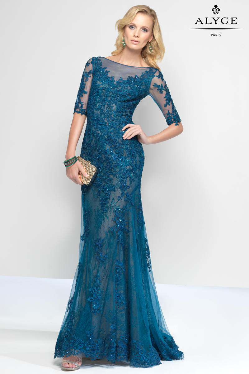 Alyce Paris Black Label 5811 Allover Lace Formal Dress