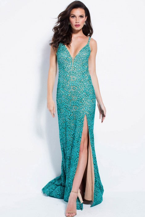 a6638f575f Jovani 58433 Lace Gown with High Slit  French Novelty