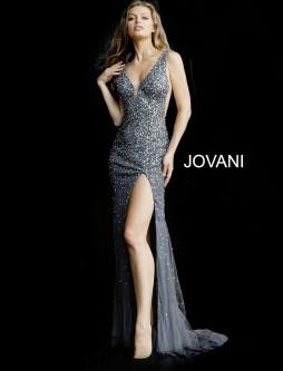 75b186f0c7e Jovani 58505 V Neck High Slit Beaded Prom Gown
