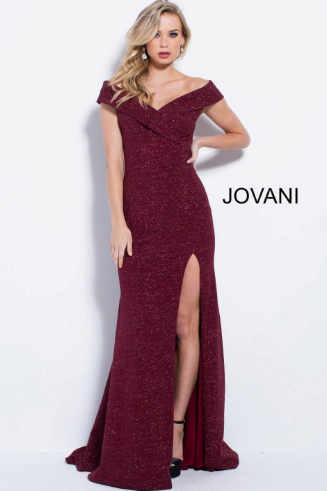 6154edfc5814 Jovani 58576 Off Shoulder Glitter Prom Gown  French Novelty