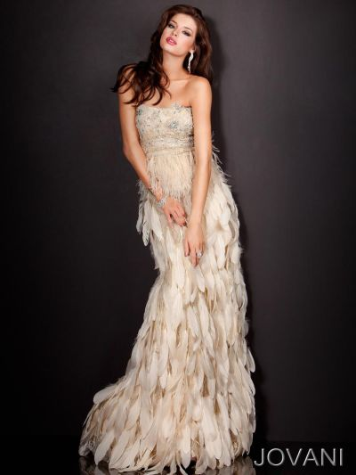 jovani gown with tiered feather skirt 5858 french novelty