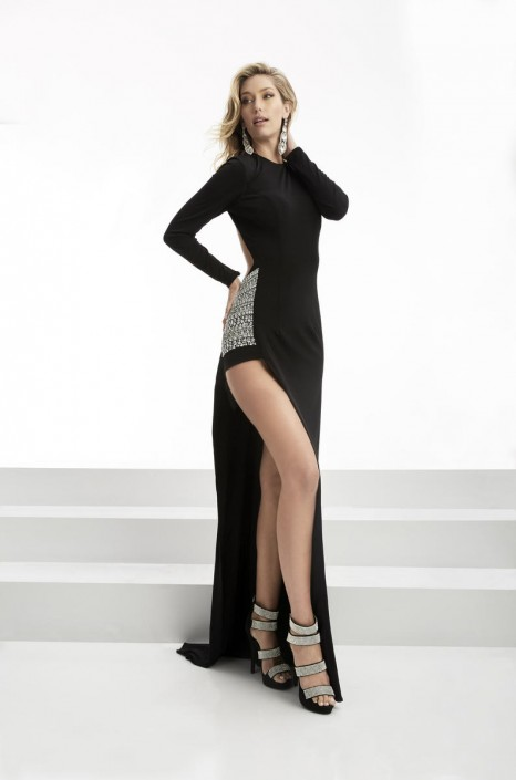 Jasz Couture 5901 Long Sleeve Asymmetrical Gown: French Novelty
