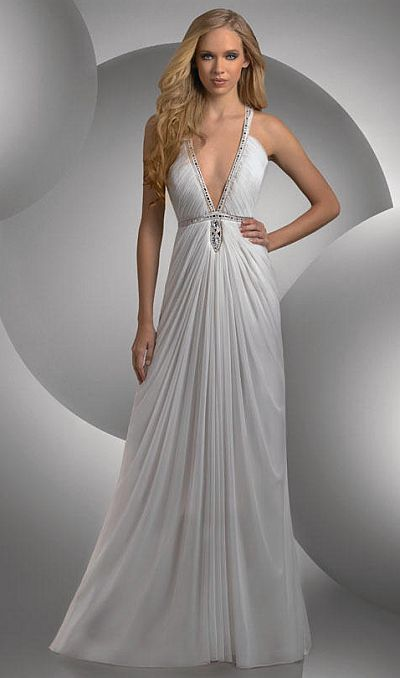 Shimmer Plunging V Neck Grecian Prom Dress 59400 by Bari Jay