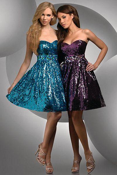 short shimmer prom dresses