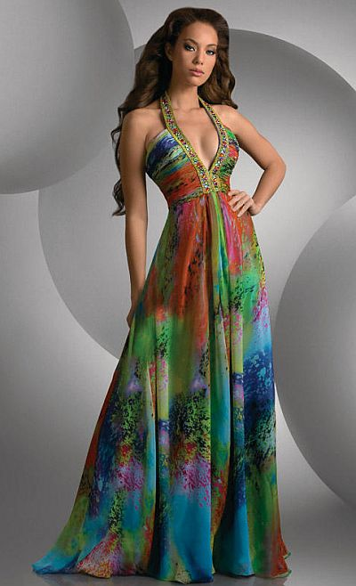 Shimmer Colorful Print Deep V Neck Prom Dress 59438 by Bari Jay ...