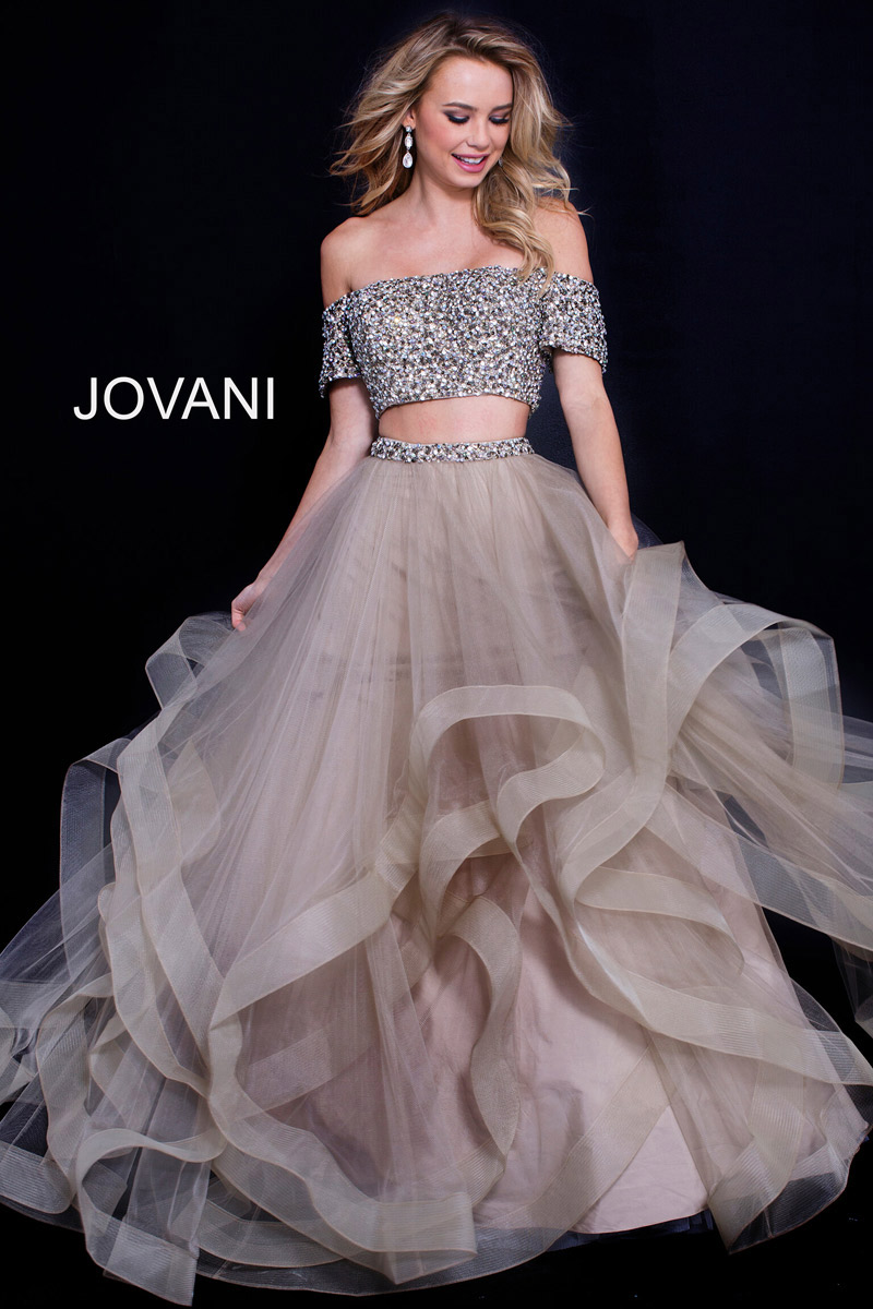Jovani 59755 Beaded Off Shoulder 2pc Layered Gown French