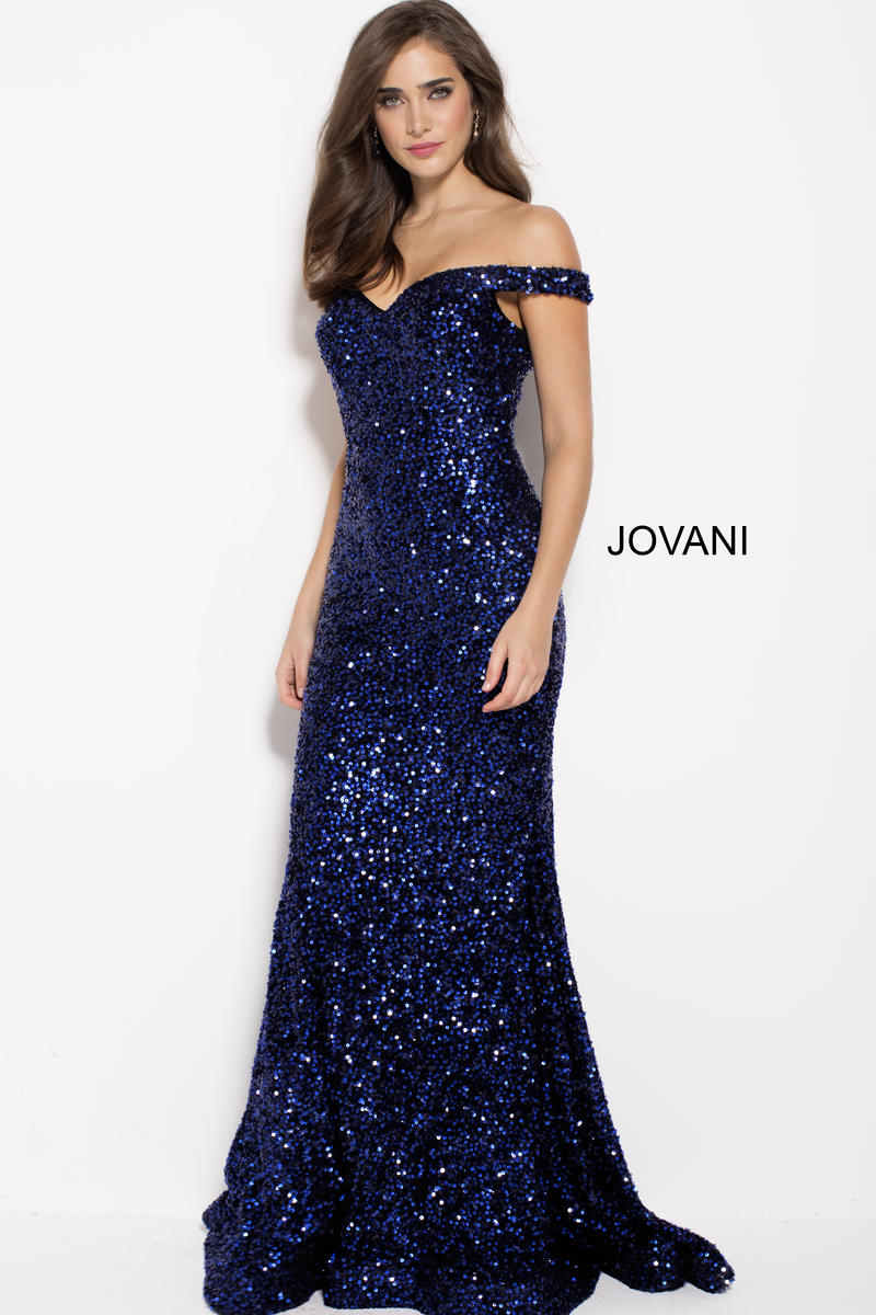 Jovani 60003 Off Shoulder Sequin Gown French Novelty
