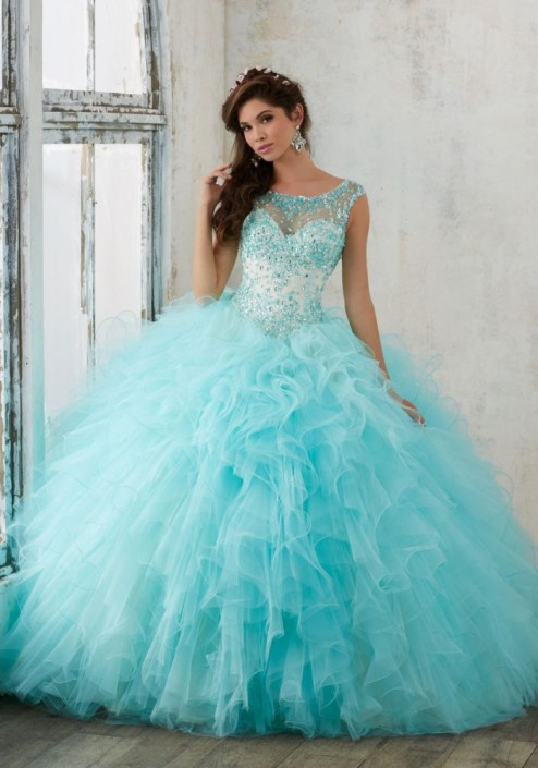 34b6ea007bd Valencia by Mori Lee 60013 Ruffle Tulle Quinceanera Dress  French Novelty