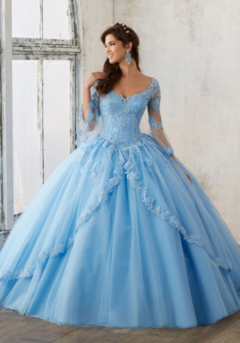 Valencia by Mori Lee 60015 Sheer Sleeve Quince Dress: French Novelty