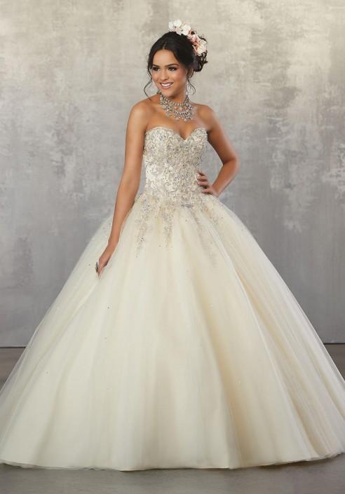 7fe83e41640 Valencia 60035 Metallic Tulle Quince Dress  French Novelty
