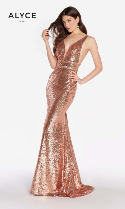 74131b5d Size 12 Rose Gold Alyce Paris 60036 Sequin Cutout Prom Dress: French Novelty