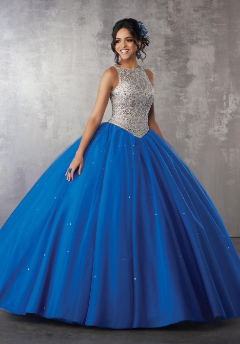 1ba3f22c3db Valencia 60040 Beaded Tulle Quinceanera Dress  French Novelty