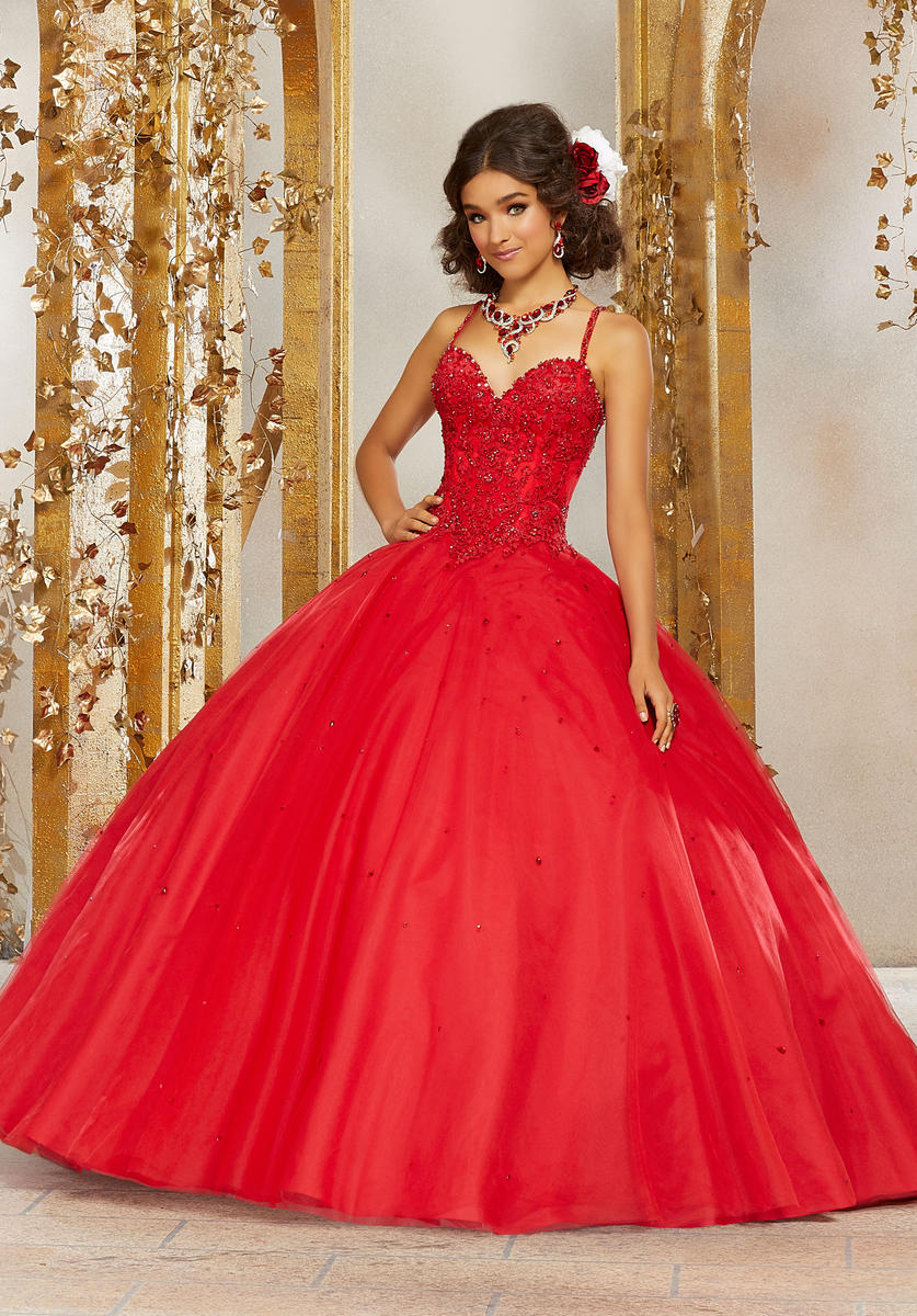 bcbd7caf8 Crystal Beaded Lace Appliques On Tulle Ball Gown Quinceanera Dress ...