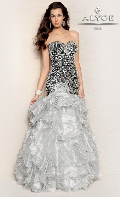 b261da13 Alyce Paris 6008 Organza and Sequin Formal Dress: French Novelty
