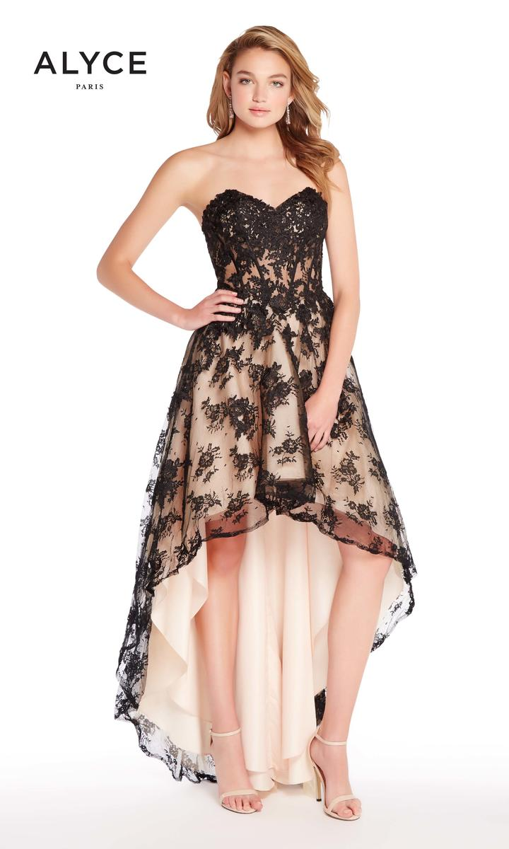 alyce paris 60084 lace high low prom dress french novelty