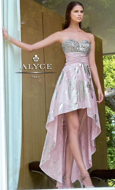 alyce paris 6009 foil chiffon and sequin high low evening dress french novelty. Black Bedroom Furniture Sets. Home Design Ideas