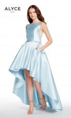 4f378279d87 Size 2 Smoke Alyce Paris 60114 High Low Mikado Prom Dress