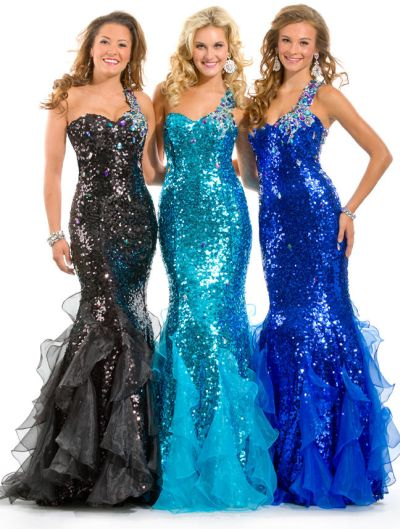 Party Time Formals 6012 Sequin Mermaid Dress: French Novelty