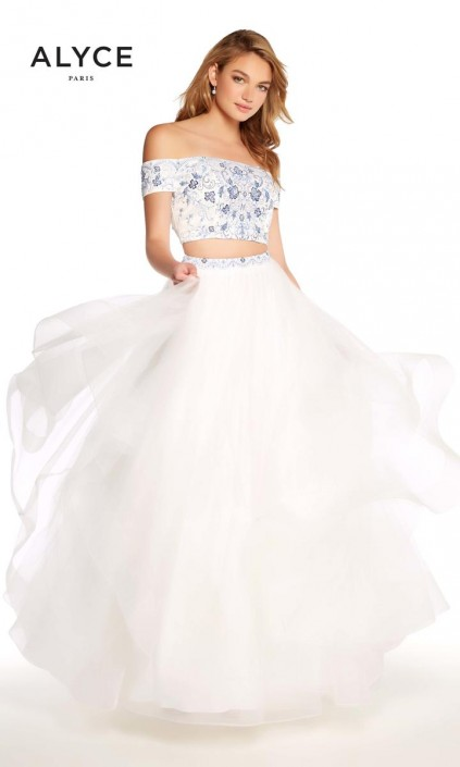 Alyce Paris 60180 Off Shoulder Layered Prom Dress: French Novelty