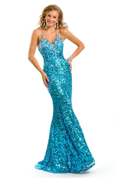 Party Time 6020 Sequin Halter Formal Dress: French Novelty
