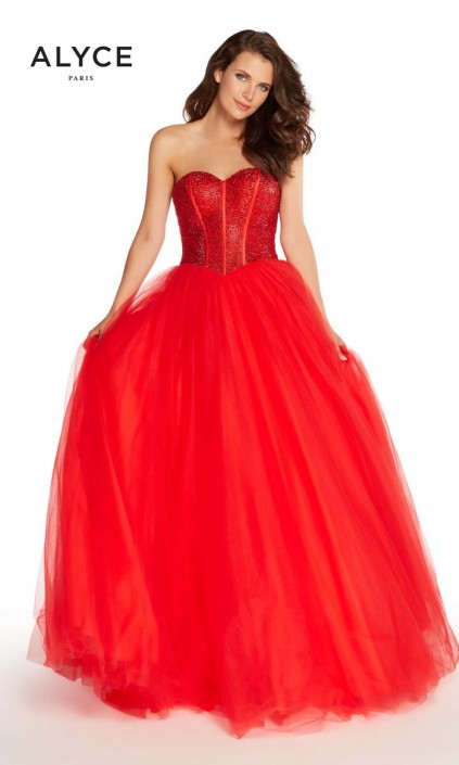 Alyce Paris 60204 Ribbed Corset Prom Dress: French Novelty