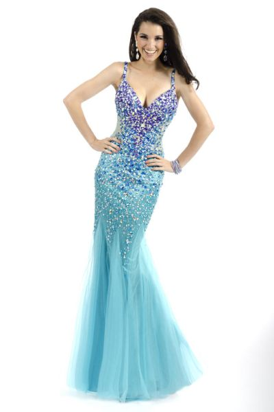 8697c3ba54ab Party Time 6027 Spaghetti Strap Mermaid Dress: French Novelty