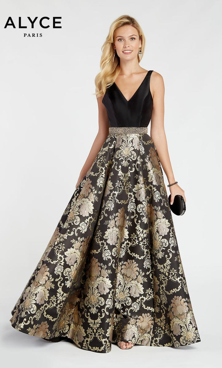 Alyce Paris 60399 V Neck Floral Brocade Prom Dress: French