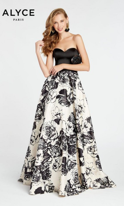 Rose Print Prom Dresses
