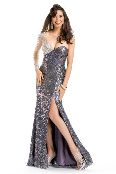 Party Time Formals 6046 Sequin Gown: French Novelty