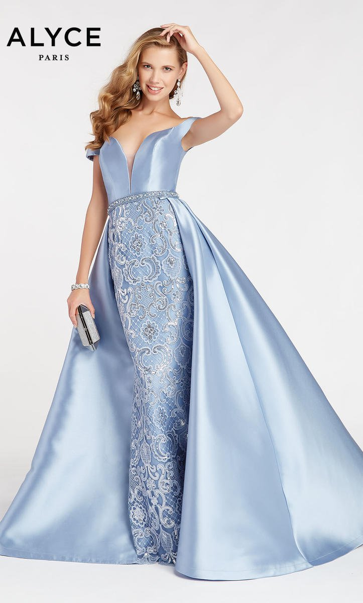 Size 4 French Blue Alyce Paris 60495 Gown With Removable