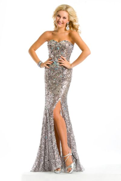 Party Time 6051 Strapless Sequin Gown: French Novelty