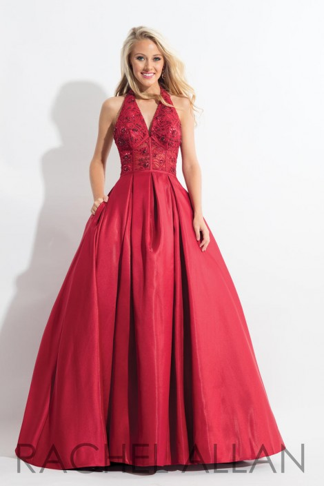 85ba26d0dc9c Rachel Allan 6071 Halter Prom Dress with Lace: French Novelty