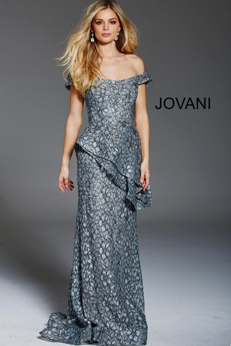f17f83f6e5c Jovani 60990 Off Shoulder Lace Gown with Peplum  French Novelty