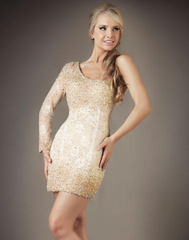 Mac Duggal Ivory Cocktail Dress 61075D: French Novelty
