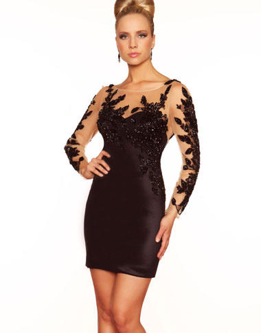 Black cocktail dress long sleeve