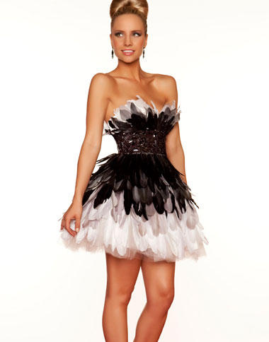 Mac Duggal Black and White Short Party Dress 61092R  French Novelty fa7bcccca