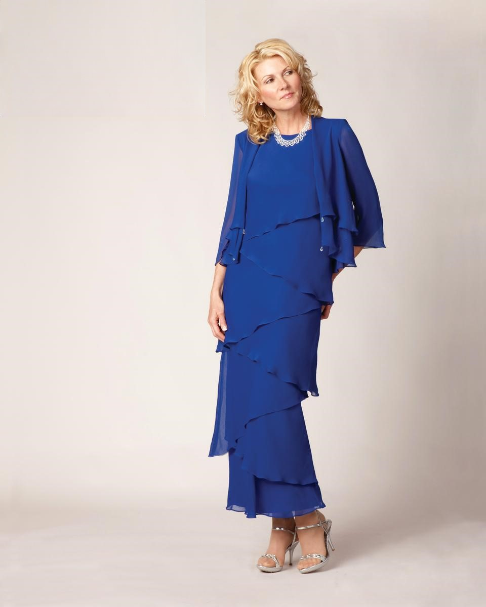 Ursula of Switzerland 61215 Plus Size Tiered MOB Dress