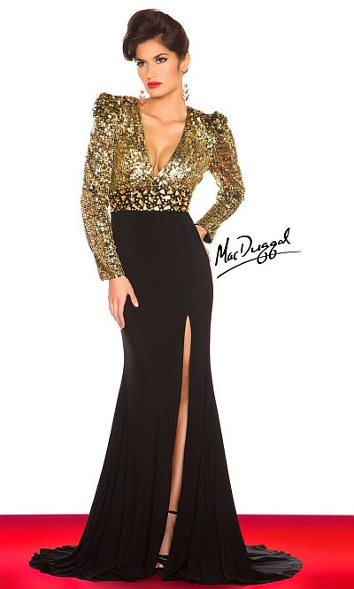 Mac Duggal Deep V Long Sleeve Formal Gown 61378R: French Novelty