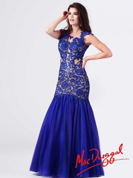 916987ad6a2 Mac Duggal 61680M Illusion Lace Cutout Gown: French Novelty