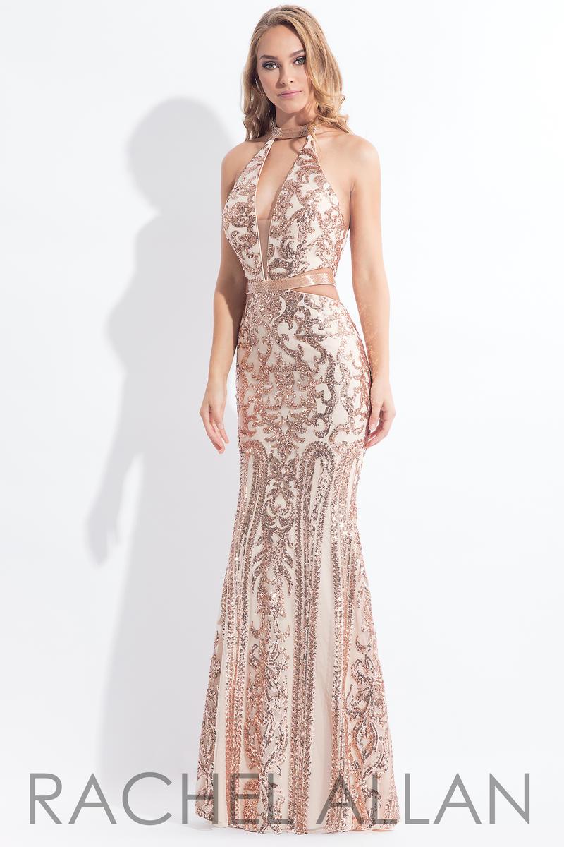Rachel Allan 6179 Sequin Cut Out Halter Gown French Novelty
