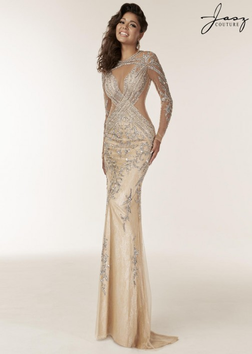 b9d33427bd Jasz Couture 6204 Sheer Long Sleeve Beaded Gown  French Novelty